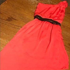Women's One Shoulder Dress Size S Coral w/ belt